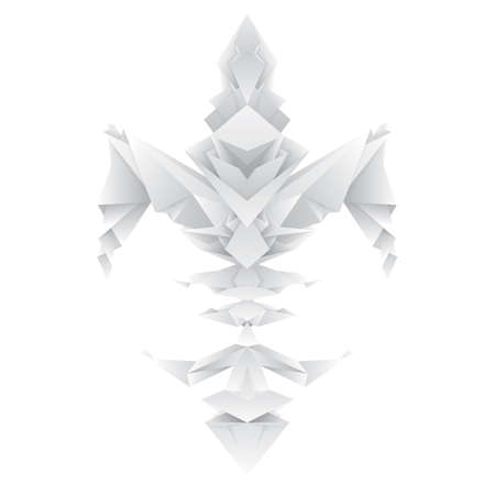lys: origami fleur de lys with three layers of transparent shadow detail, in different grey tones, all in one color tints for fast color change