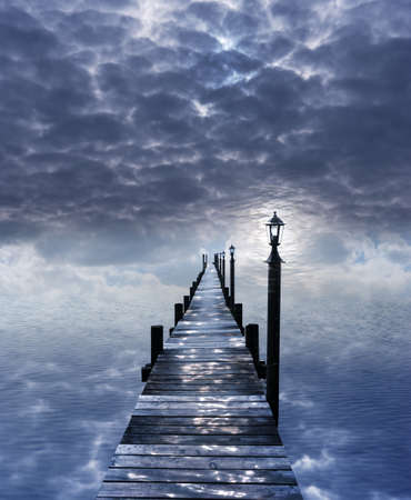 surreal sea stage, without a horizon, with water light reflections from the sky on the pier, in a similar structure like the cloudscape, with a blue light, shining through