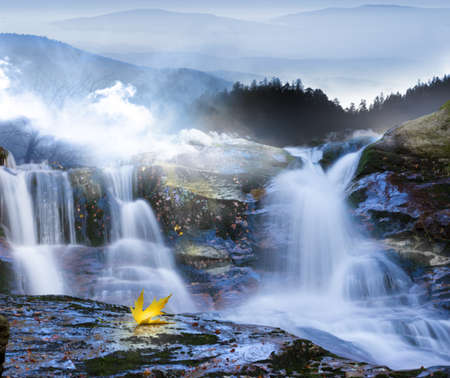 autumn leaves, that seems to flow with the waterfall, taken at long exposure time with fading mountains in the fog  and with one leaf that shines in a yellow reflection on the wet stone Stock Photo