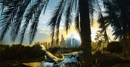 dubai city panorama sunrise with two reptiles, in yellow and blue duo tone color and originally blue skyscrapers at the sunlight, typical for this city