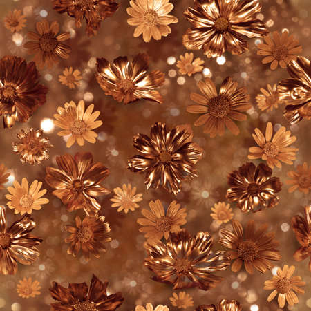 repeatable, gilded real flower buds with two kinds of surfaces, glittering and shiny