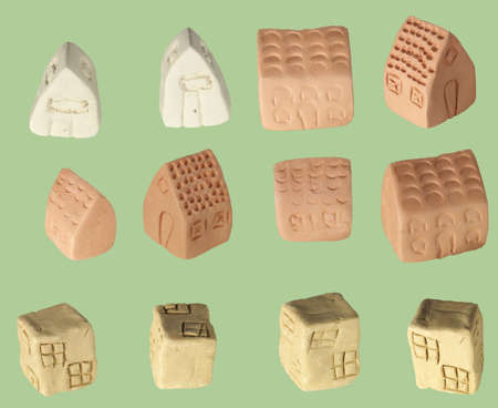 children made tiny clay houses