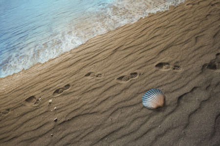 shoeprints nearby a seashore and a seashell gradually changing into blue color Stock Photo