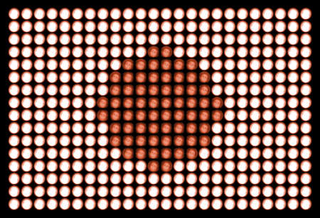 hinomaru: flag of japan, made of led bulbs.