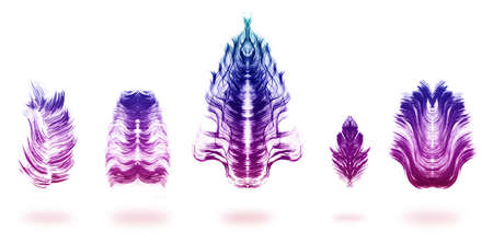 mirrored: paint brushed feathers, mirrored and overlaid with a colorful gradient, isolated on white