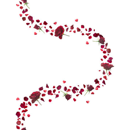 repeatable red roses and petals curve, with hovering hearts, studio photographed in depth of field and isolated on white Stockfoto