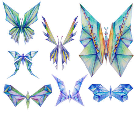 triangular, diamond like, butterfly collection, color pencil drawing, isolated on white
