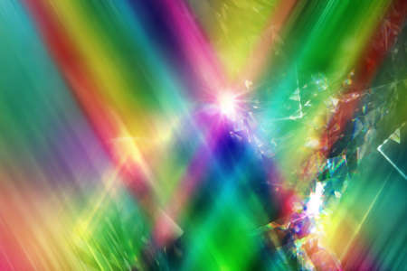 rainbow color rays with layered diamond refraction light triangles Stock Photo
