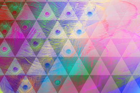 thermal imaging: peacock feathers in rainbow colors, layered with feather textures and a triangle grid Stock Photo