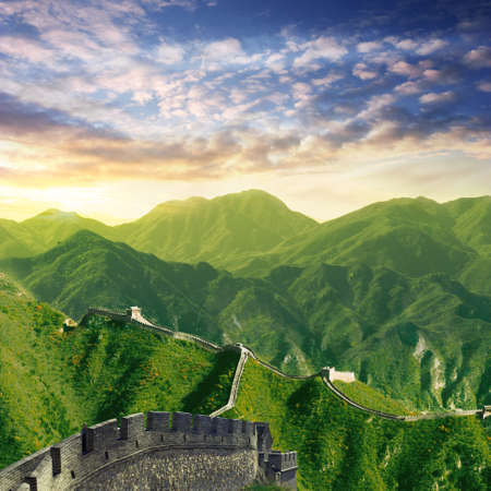 chinese wall: chinese wall with wide mountain view at dawn