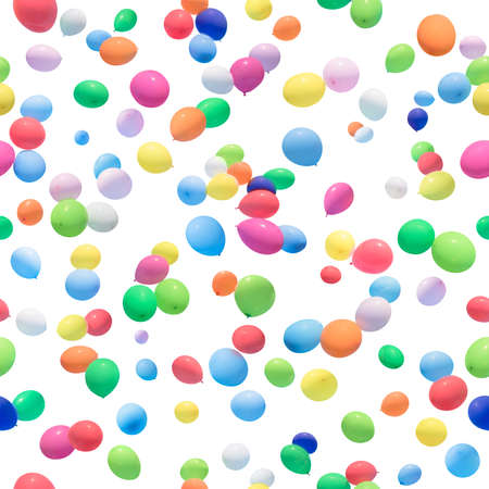 absolute: seamless, colorful, flying, wet balloons background, isolated on absolute white Stock Photo