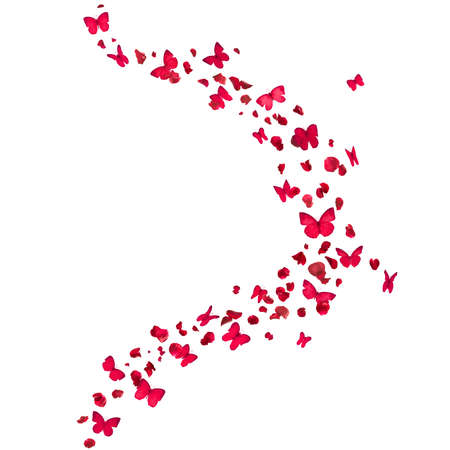 scattered: red rose petals and butterflies curve, isolated on absolute white