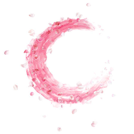 round rose petals shape, floating over rosa watercolor brush strokes, isolated on absolute white