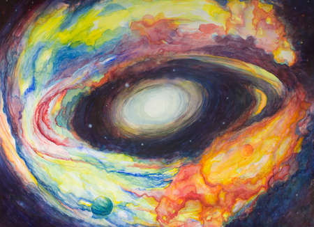 sun birth watercolor painting with cosmic clouds surrounding the center in all colors