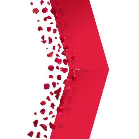 rosas rojas: Pétalos de rosas rojas, flota y realiza una sombra sobre una cinta en forma de flecha.
