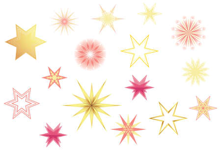 Christmas star shapes collections with red and gold tones and gradients Illustration