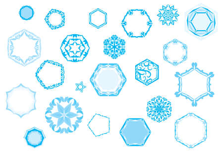 Crystallized frozen bokeh prisms collection for Christmas in wintertime Illustration