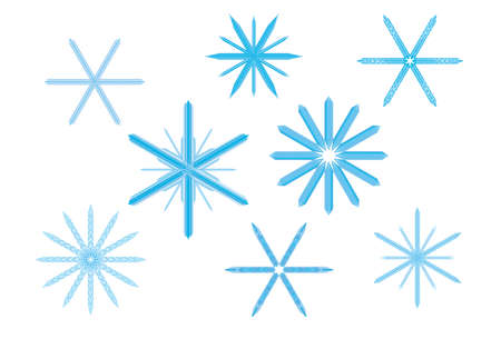 Crystallized frozen elaborate dendrites collection for Christmas in wintertime Illustration