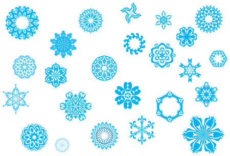 Crystallized, ornate snowflakes and snow flowers collection for Christmas in wintertime Illustration