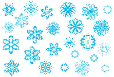 Crystallized, playful snowflakes and snow flowers collection for Christmas in wintertime Illustration