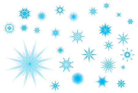 dendrites: Crystallized radiant star shapes collection for Christmas in wintertime