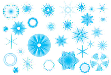 Crystallized radiant star shapes collection for Christmas in wintertime
