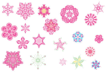 flowerhead: Stylized colorful flower bud shapes collection in various pink color tones and ornate blossom forms