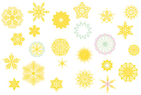 Stylized colorful flower bud shapes collection in Mainly yellow color and ornate blossom shape