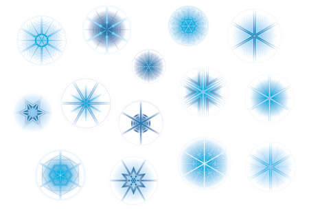 Geometric, stylish snowflakes and snow flowers collection for Christmas in wintertime, fading in gradients into white