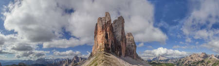 Panorama near the famous Three peaks in the Dolomites Mountains with a mountain scape behind