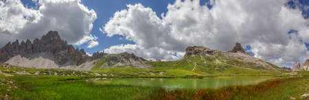 Mountain panorama of the Paternkofel, Sextner Stone, Toblinger Knot and the Three Peaks, viewed from the B�den Lakes in the Dolomites