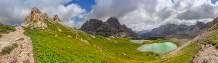 Way to the Sextner Stone at the BÃ??den Lakes in the Dolomite Mountains