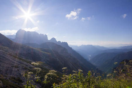 Passportenkofel under a sunbeam in the Dolomite Mountains Stock Photo