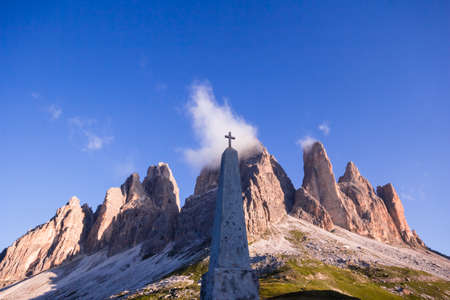 DOLOMITE MOUNTAINS, ITALY: AUGUST 11, 2016: A cross-country skydive in the Cima Grande, part of the Three Peaks Editorial