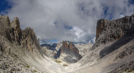 View of the Vajolet Towers in the Dolomites Mountains, with trails that lead to the Alberto Hut Stock Photo