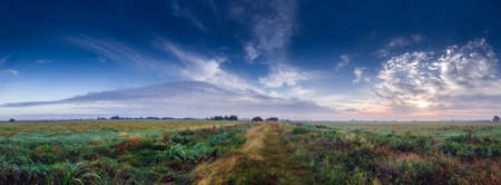 Midsummer meadow country road at sunrise in the Teufelsmoor, a marshland near the famous artist colony Worpswede in North Germany Foto de archivo
