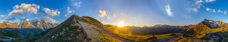 Panoramic view of the High Tauern Mountain Road up to the Edelweissspitze at sunrise