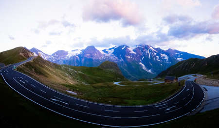 The High Tauern serpentine road, empty in the morning, with the Wiesbachhorn peak