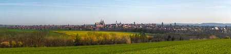 Panorama of the City of Rothenburg ob der Tauber, from a springtime hill in the southeast, in Bavaria, South Germany Stock Photo