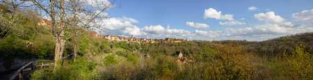 South panorama of the historic city center of Rothenburg, in springtime, in Bavaria, Germany Stock Photo