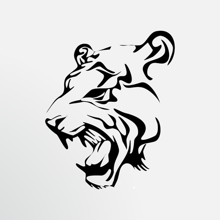 illustration black tiger Vector