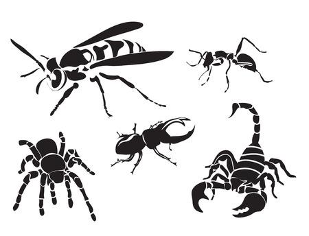 avispa: conjunto de siluetas de insectos aislados en blanco Vectores