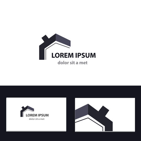 houses: Abstract vector logo design template with business card