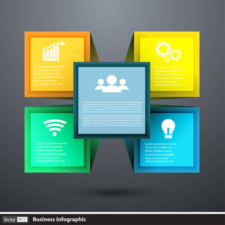 tendance: Vector infographics cube box for business concepts with icons Illustration
