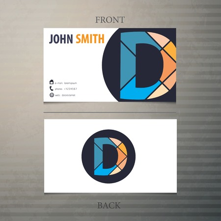 d: Business card template, letter D