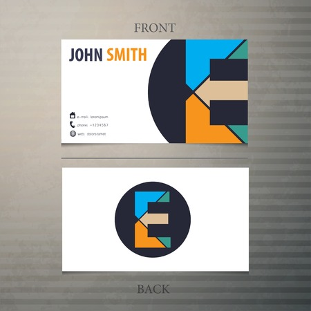 Business card template, letter E Vector