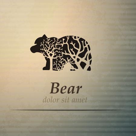 western theme: Vector bear american labels