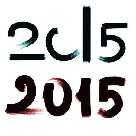 Happy New Year 2015! Vector watercolor illustration. Vector