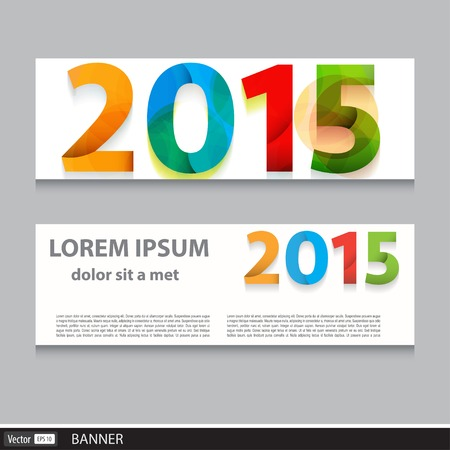 happy new year banner: Vector banner set 2015 happy new year Illustration