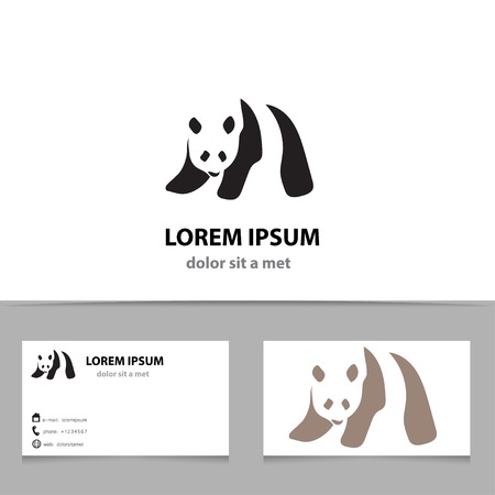 Abstract panda design template with business card Vector